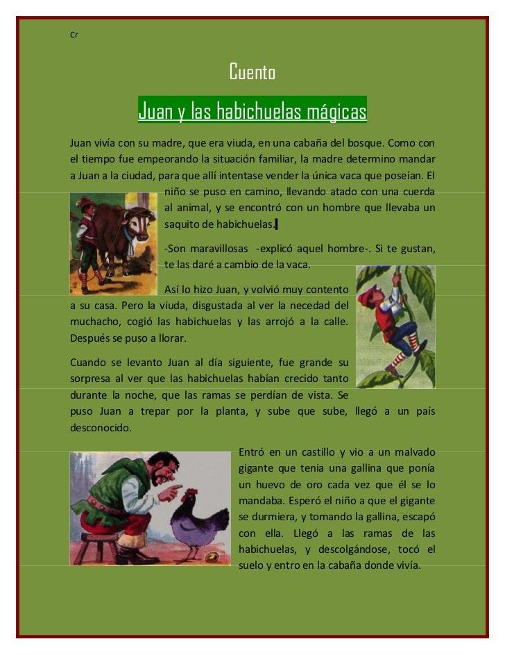 Cr                                  Cuento              Juan y las habichuelas mágicasJuan vivía con su madre, que era viu...