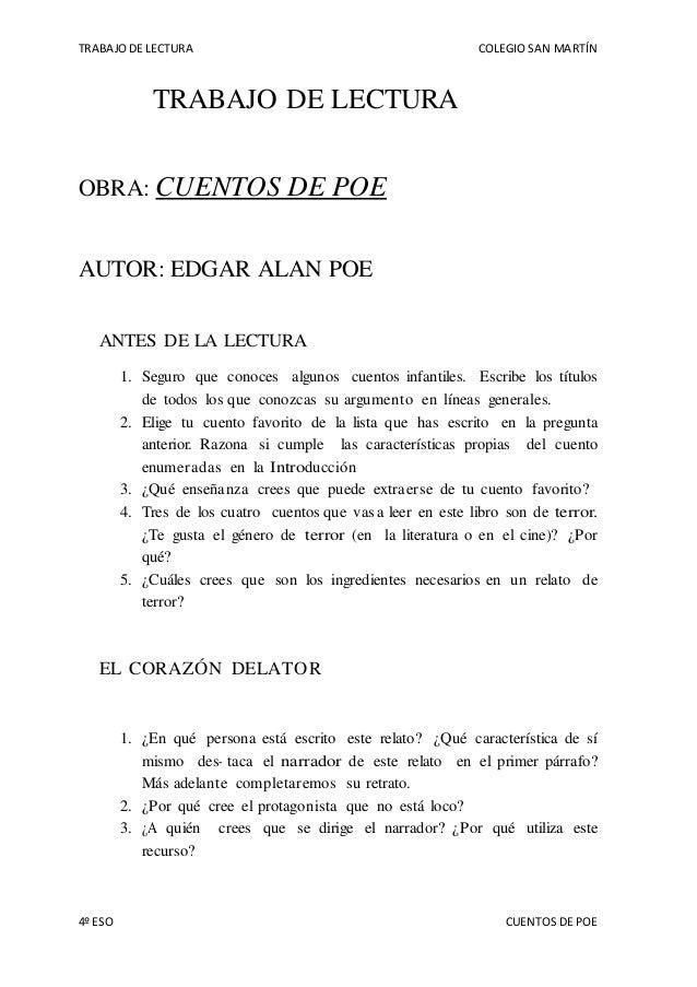 TRABAJO DE LECTURA COLEGIO SAN MARTÍN 4º ESO CUENTOS DE POE TRABAJO DE LECTURA OBRA: CUENTOS DE POE AUTOR: EDGAR ALAN POE ...