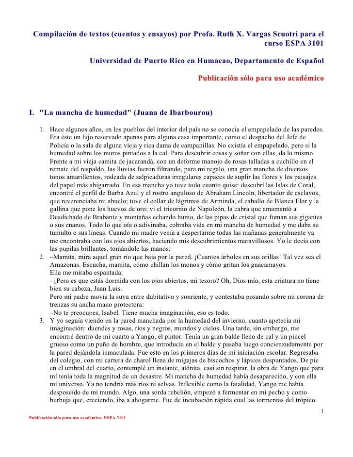 Compilación de textos (cuentos y ensayos) por Profa. Ruth X. Vargas Scuotri para el                                       ...