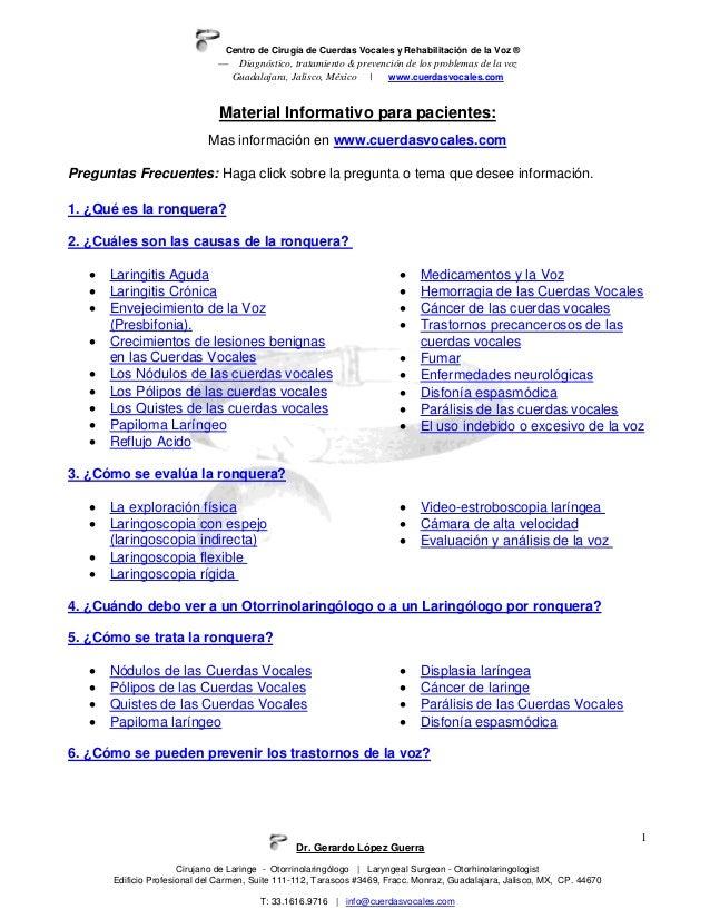 Centro de Cirugía de Cuerdas Vocales y Rehabilitación de la Voz ®— Diagnóstico, tratamiento & prevención de los problemas ...