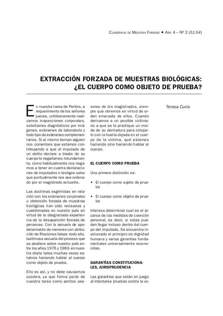 CUADERNOS DE MEDICINA FORENSE • AÑO 4 – Nº 2 (51-54)        EXTRACCIÓN FORZADA DE MUESTRAS BIOLÓGICAS:                 ¿EL...