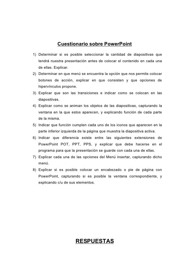 Cuestionario Sobre Power Point
