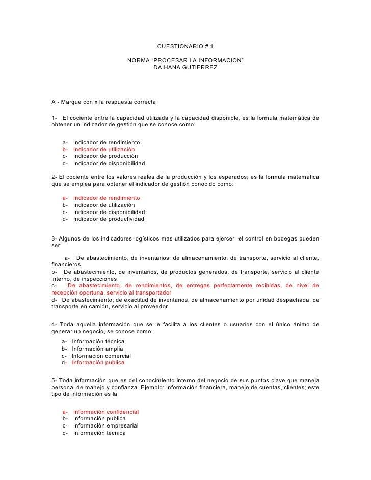 """CUESTIONARIO # 1                              NORMA """"PROCESAR LA INFORMACION""""                                    DAIHANA G..."""