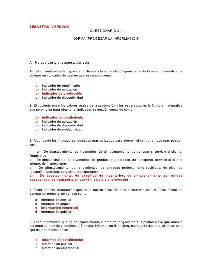 """SEBASTIAN CARDONA                                          CUESTIONARIO # 1                              NORMA """"PROCESAR L..."""