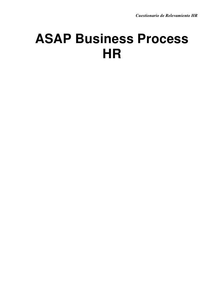 Cuestionario de Relevamiento HRASAP Business Process         HR