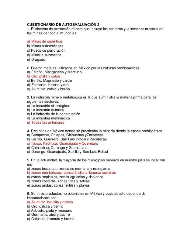 CUESTIONARIO DE AUTOEVALUACIÓN 21. El sistema de extracción minera que incluye las canteras y la inmensa mayoría delas min...
