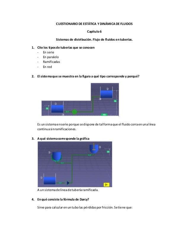CUESTIONARIO DE ESTÁTICA Y DINÁMICA DE FLUIDOS Capitulo 6 Sistemas de distribución. Flujo de fluidos en tuberías. 1. Cite ...