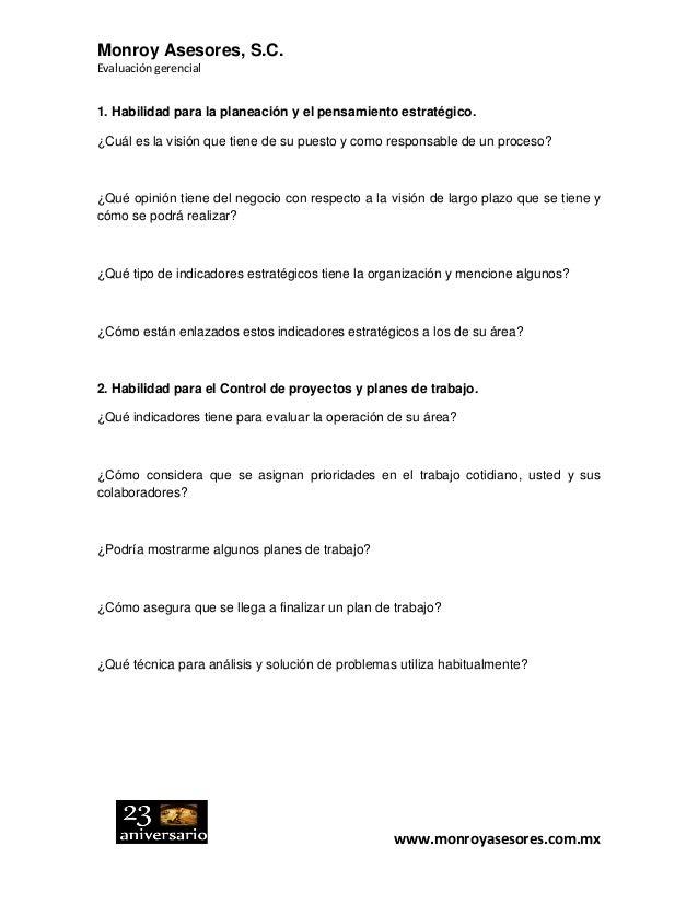 Monroy Asesores, S.C. Evaluación gerencial www.monroyasesores.com.mx 1. Habilidad para la planeación y el pensamiento estr...