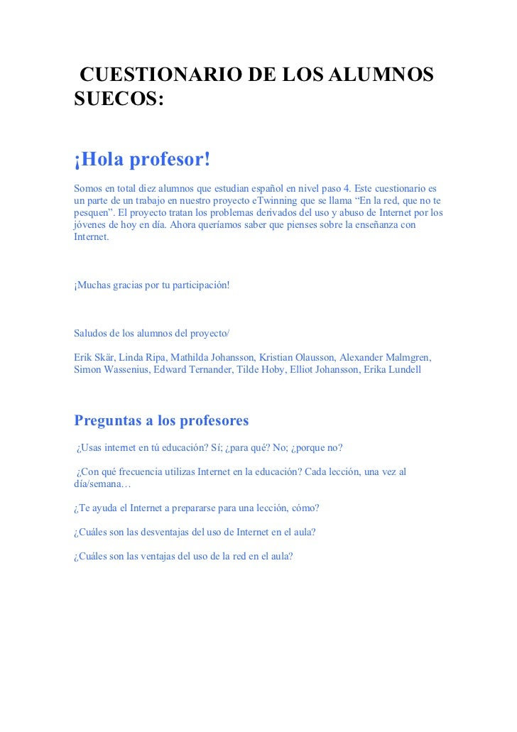 Cuestionario de los alumnos suecos