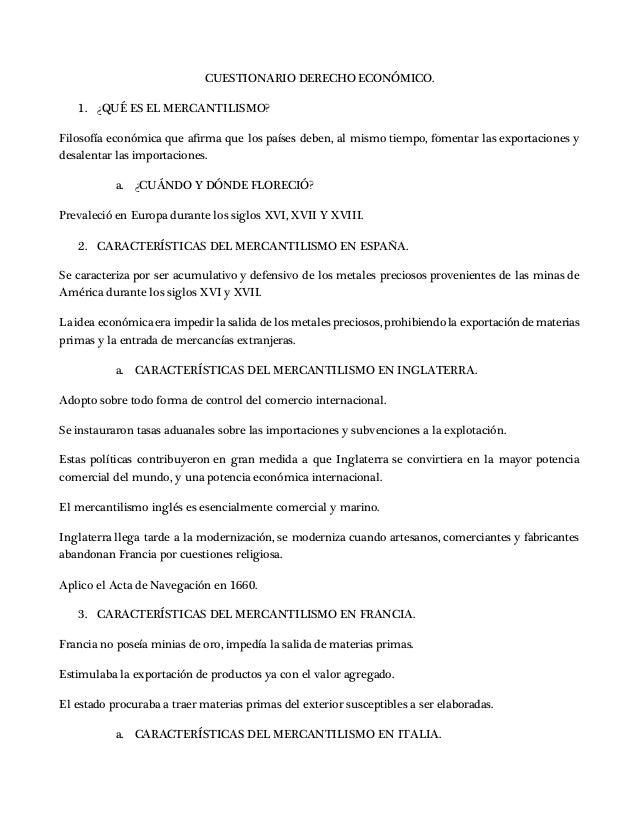 Cuestionario Derecho Económico