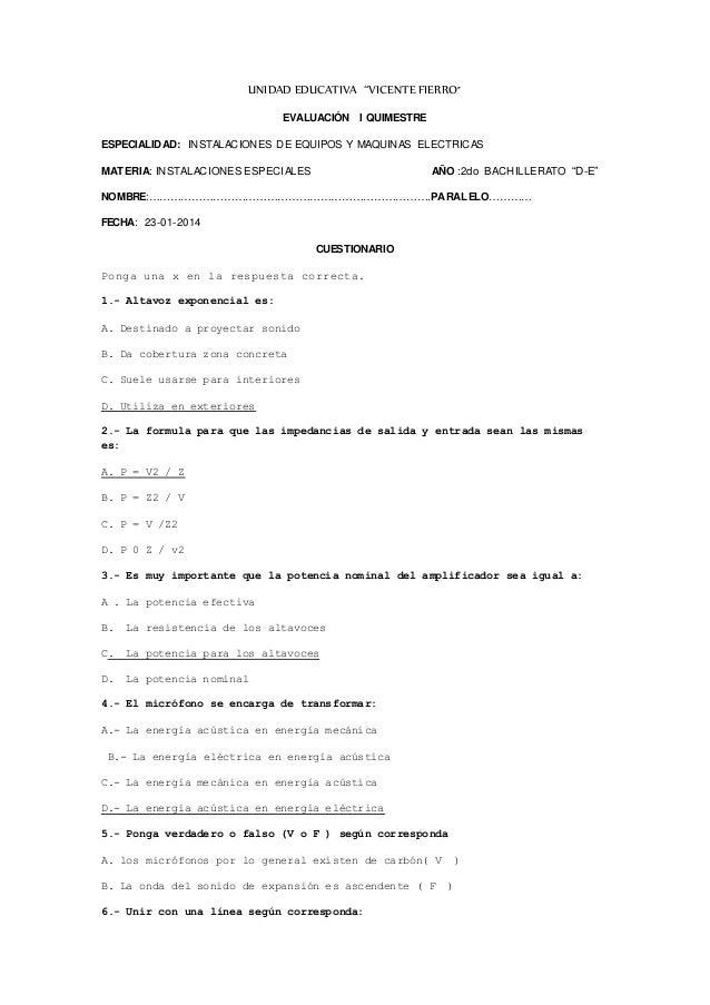 """UNIDAD EDUCATIVA """"VICENTE FIERRO"""" EVALUACIÓN I QUIMESTRE ESPECIALIDAD: INSTALACIONES DE EQUIPOS Y MAQUINAS ELECTRICAS MATE..."""