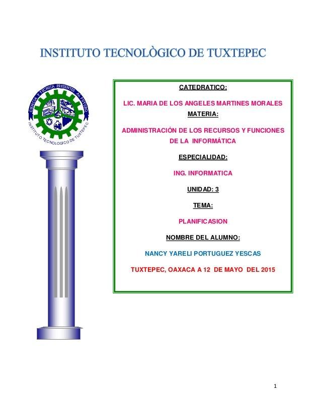1 INSTITU TO TECNOLOGICO DE TU X TEPEC CATEDRATICO: LIC. MARIA DE LOS ANGELES MARTINES MORALES MATERIA: ADMINISTRACIÓN DE ...