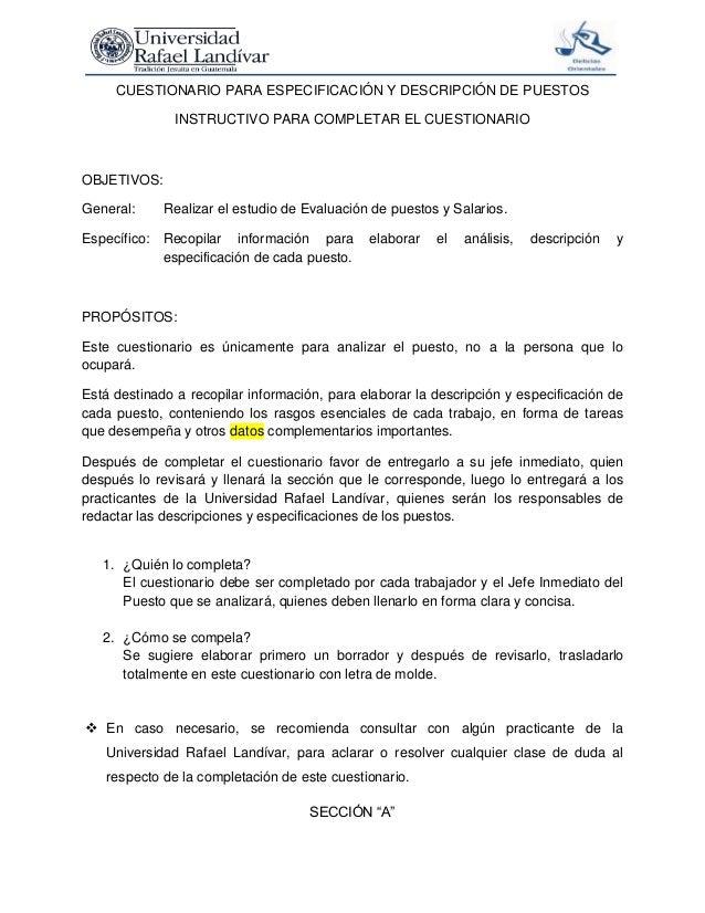 Cuestionario para especificación y descripción de puestos (1)