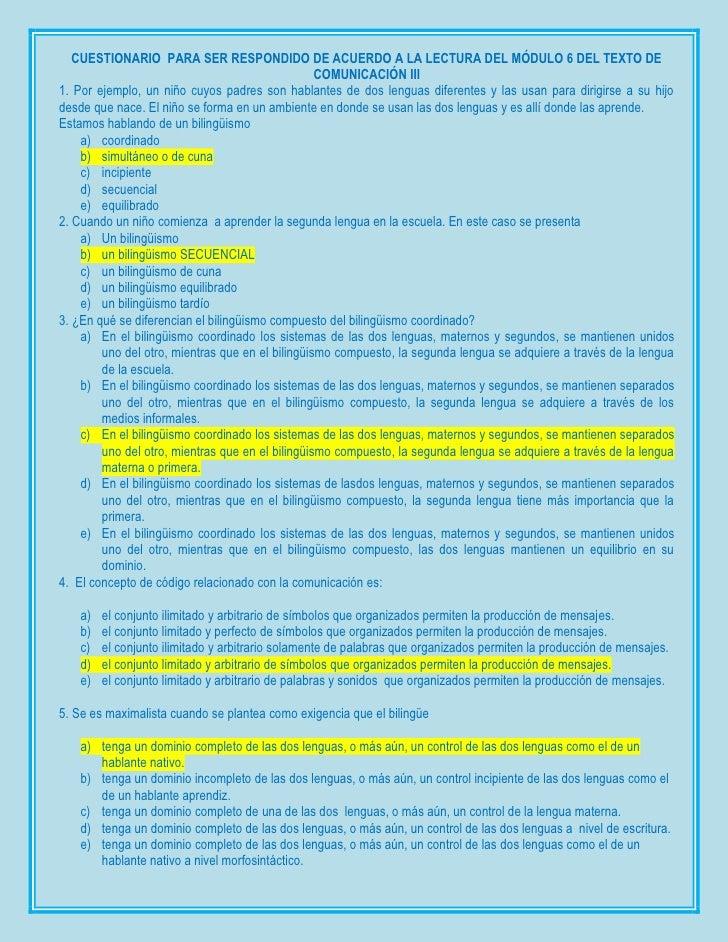 CUESTIONARIO PARA SER RESPONDIDO DE ACUERDO A LA LECTURA DEL MÓDULO 6 DEL TEXTO DE                                        ...