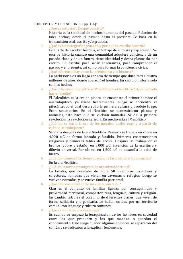 CONCEPTOS Y DEFINICIONES (pp. 1-4): 1. ¿Qué es historia? ¿De qué consiste? Historia es la totalidad de hechos humanos del ...