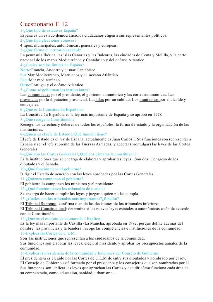 Cuestionario T. 121-¿Qué tipo de estado es España?España es un estado democrático:los ciudadanos eligen a sus representant...