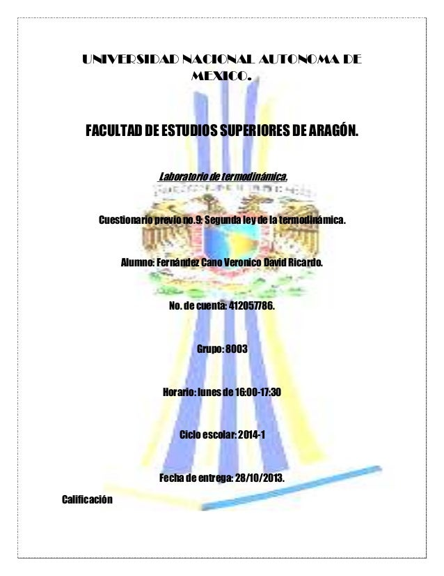 UNIVERSIDAD NACIONAL AUTONOMA DE MEXICO.  FACULTAD DE ESTUDIOS SUPERIORES DE ARAGÓN. Laboratorio de termodinámica.  Cuesti...