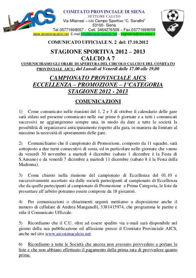 Comunicato n°2 2012 2013
