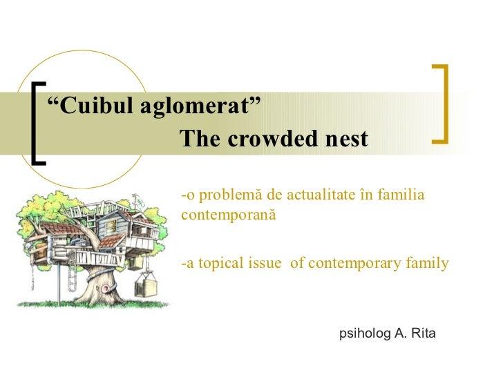 """""""Cuibul aglomerat""""            The crowded nest           -o problemă de actualitate în familia           contemporană     ..."""