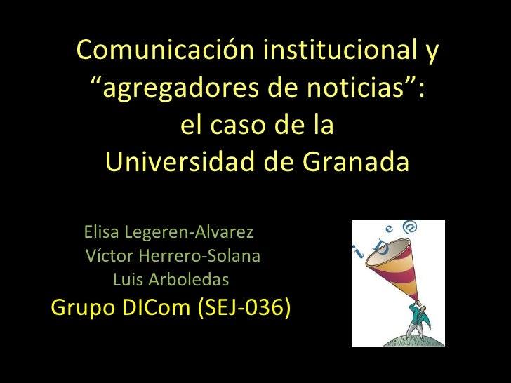 Comunicación institucional y agregadores de noticias