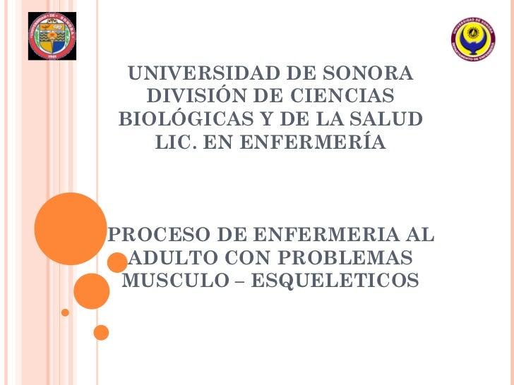 UNIVERSIDAD DE SONORA DIVISIÓN DE CIENCIAS BIOLÓGICAS Y DE LA SALUD LIC. EN ENFERMERÍA PROCESO DE ENFERMERIA AL ADULTO CON...