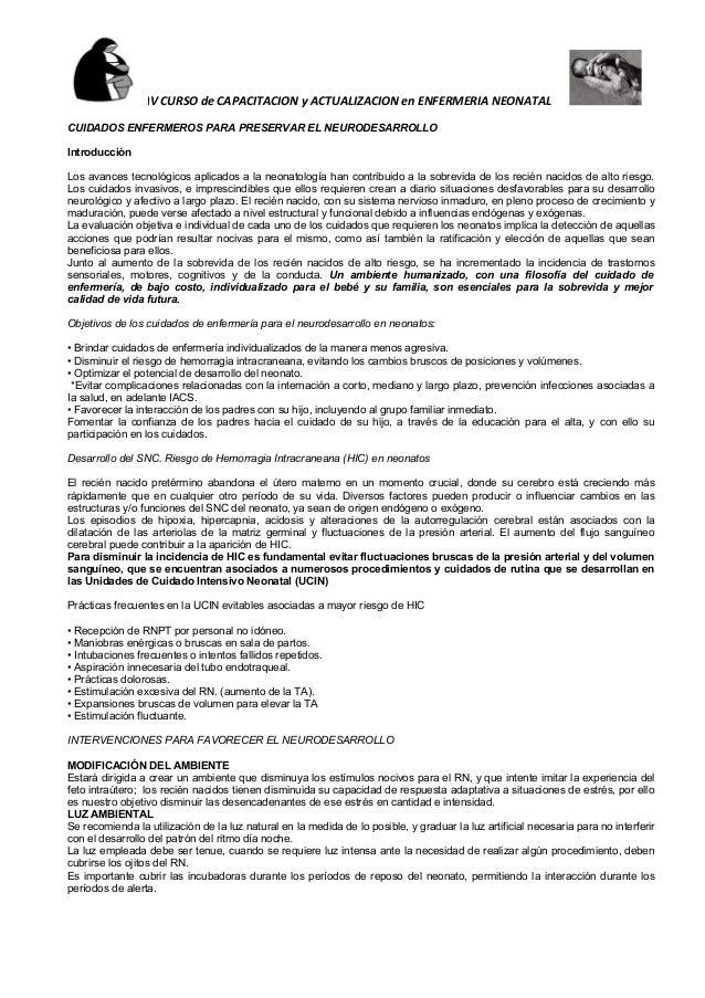 IV CURSO de CAPACITACION y ACTUALIZACION en ENFERMERIA NEONATAL CUIDADOS ENFERMEROS PARA PRESERVAR EL NEURODESARROLLO Intr...