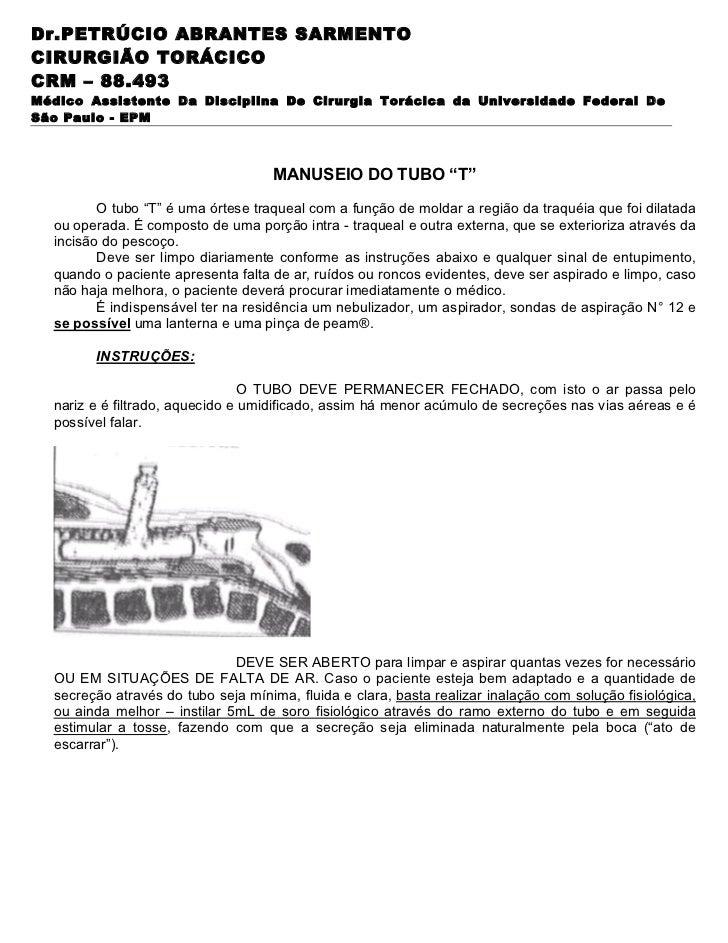 Dr.PETRÚCIO ABRANTES SARMENTOCIRURGIÃO TORÁCICOCRM – 88.493Médico Assistente Da Disciplina De Cirurgia Torácica da Univers...