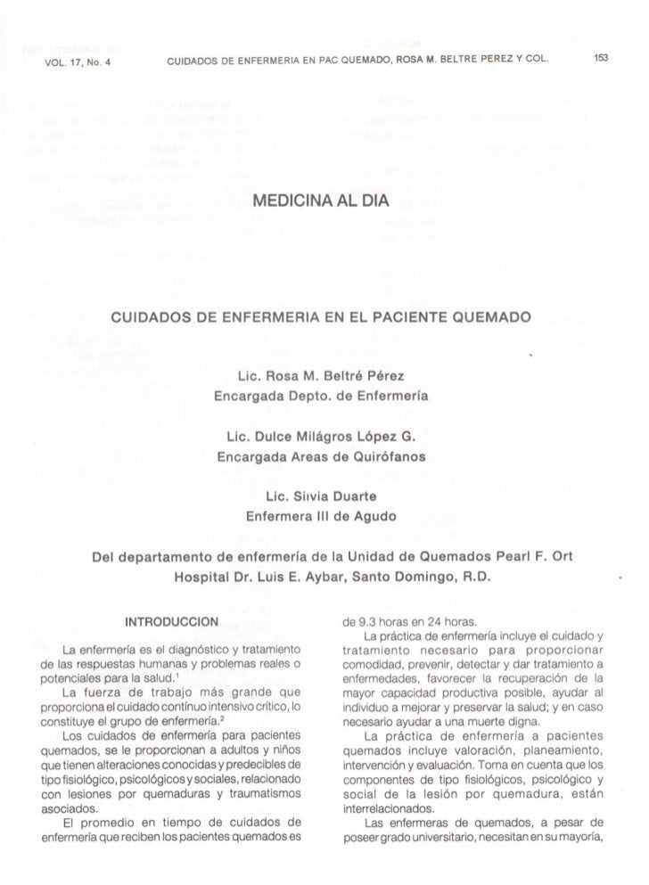 CUIDADOS DE ENFERMERIA EN PAC QUEMADO, ROSA M. BELTRE PEREZ y COL.             153 VOL. 17, No. 4                         ...