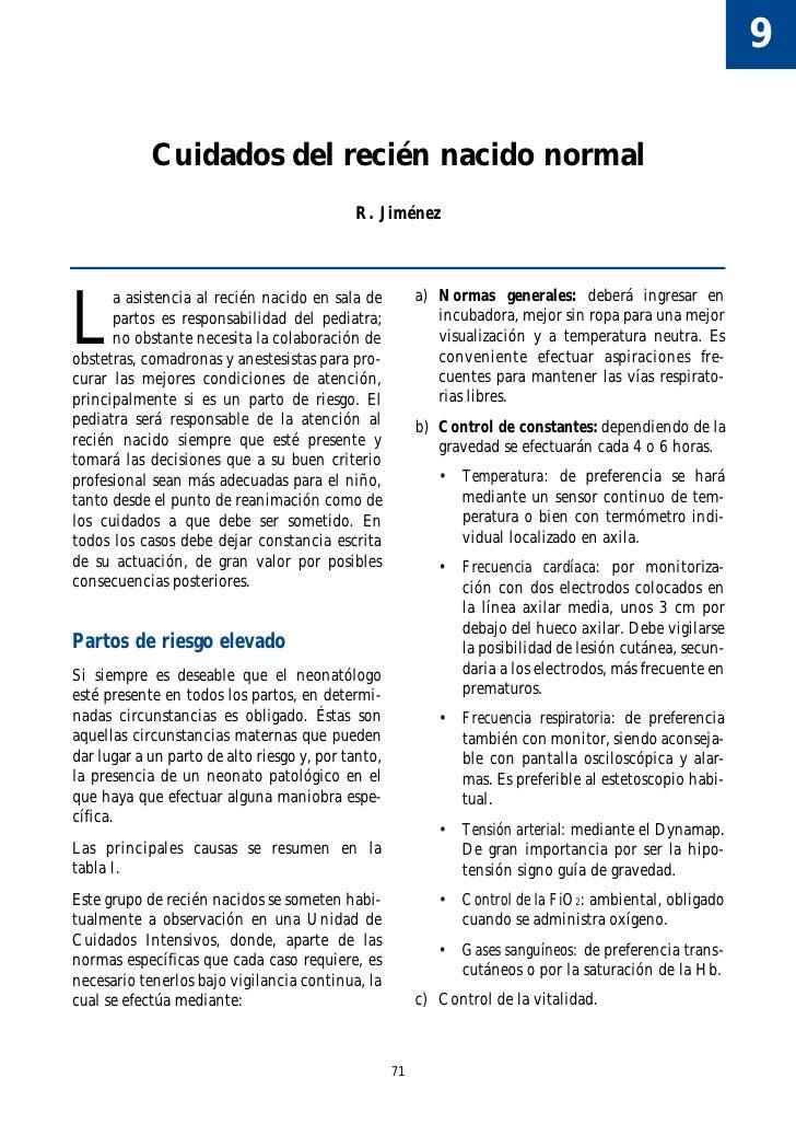 9              Cuidados del recién nacido normal                                             R. Jiménez     L       a asis...