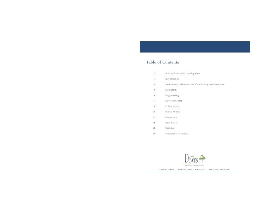Table of Contents     02          A Note from MassDevelopment     03          Introduction     04          Community Relat...