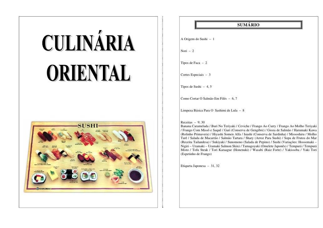 SUMÁRIO   A Origem do Sushi – 1   Nori – 2   Tipos de Faca – 2   Cortes Especiais – 3   Tipos de Sushi – 4, 5   Como Corta...
