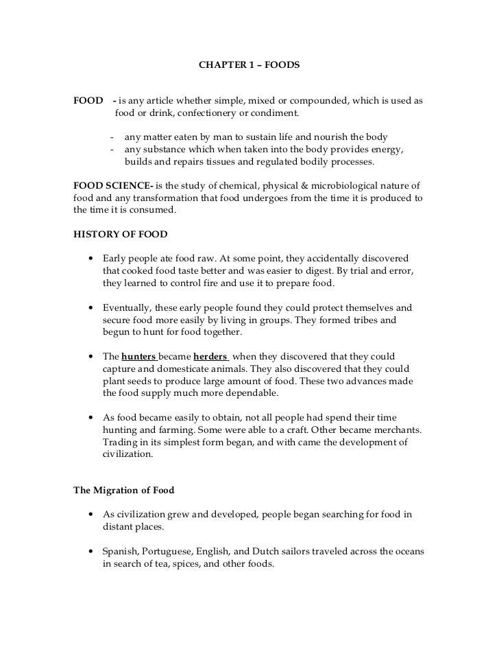 CHAPTER 1 – FOODSFOOD     - is any article whether simple, mixed or compounded, which is used as          food or drink, c...