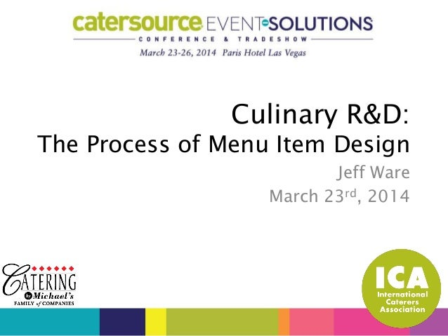 Jeff Ware March 23rd, 2014 Culinary R&D: The Process of Menu Item Design