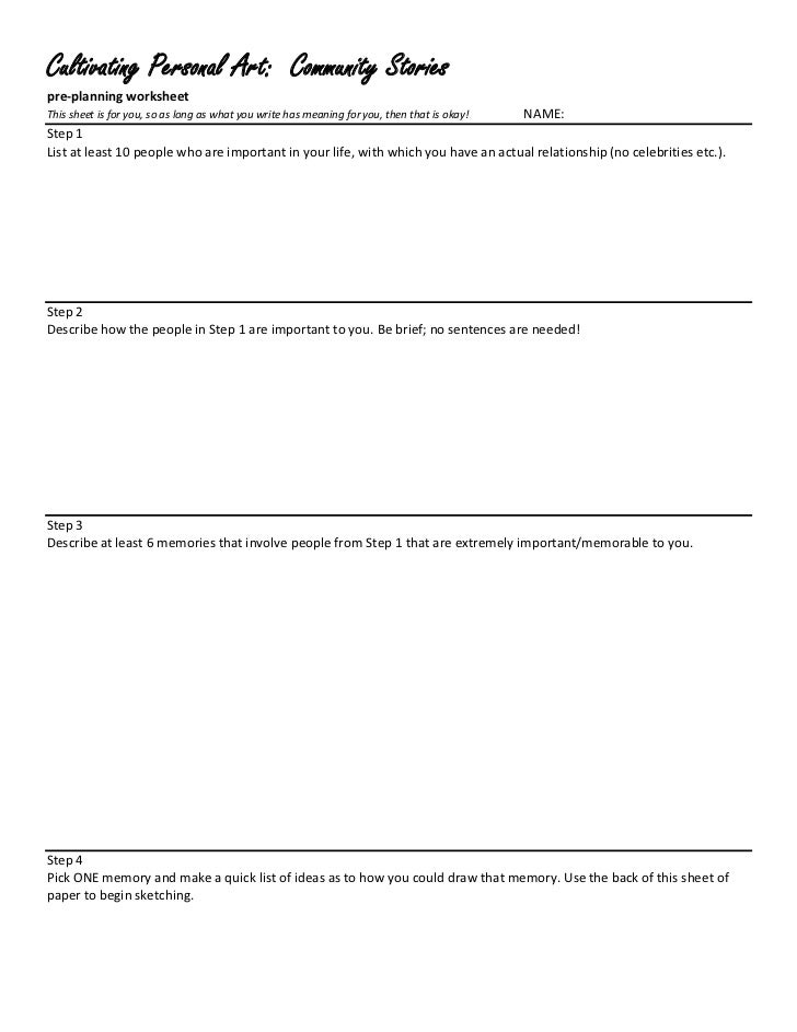 Creating community stories, a preplanning worksheet for visual art