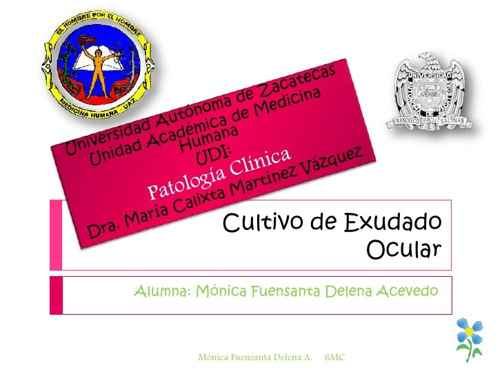 Cultivo de Exudado Ocular<br />Alumna: Mónica Fuensanta Delena Acevedo<br />Universidad Autónoma de Zacatecas<br />Unidad ...