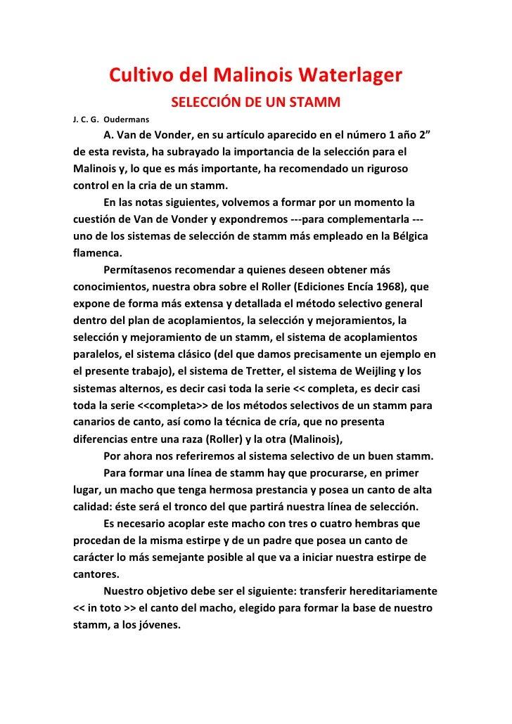 Cultivo del Malinois Waterlager                     SELECCIÓN DE UN STAMMJ. C. G. Oudermans       A. Van de Vonder, en su ...