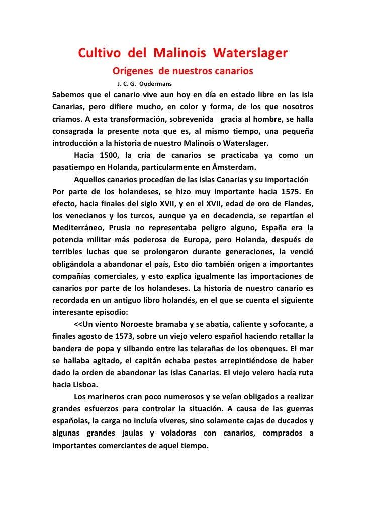 Cultivo del Malinois Waterslager                 Orígenes de nuestros canarios                  J. C. G. OudermansSabemos ...