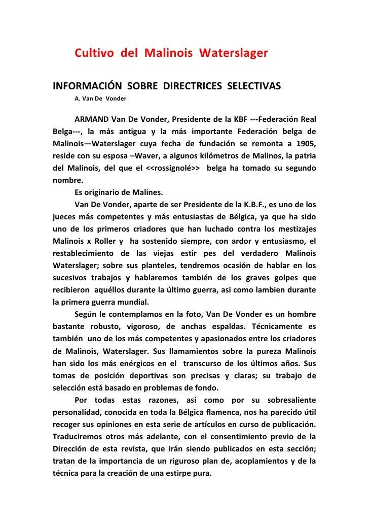 Cultivo del Malinois WaterslagerINFORMACIÓN SOBRE DIRECTRICES SELECTIVAS      A. Van De Vonder       ARMAND Van De Vonder,...