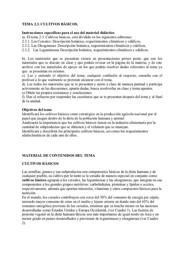 TEMA 2.3. CULTIVOS BÁSICOS.Instrucciones específicas para el uso del material didácticoa). El tema 2.3. Cultivos básicos, ...