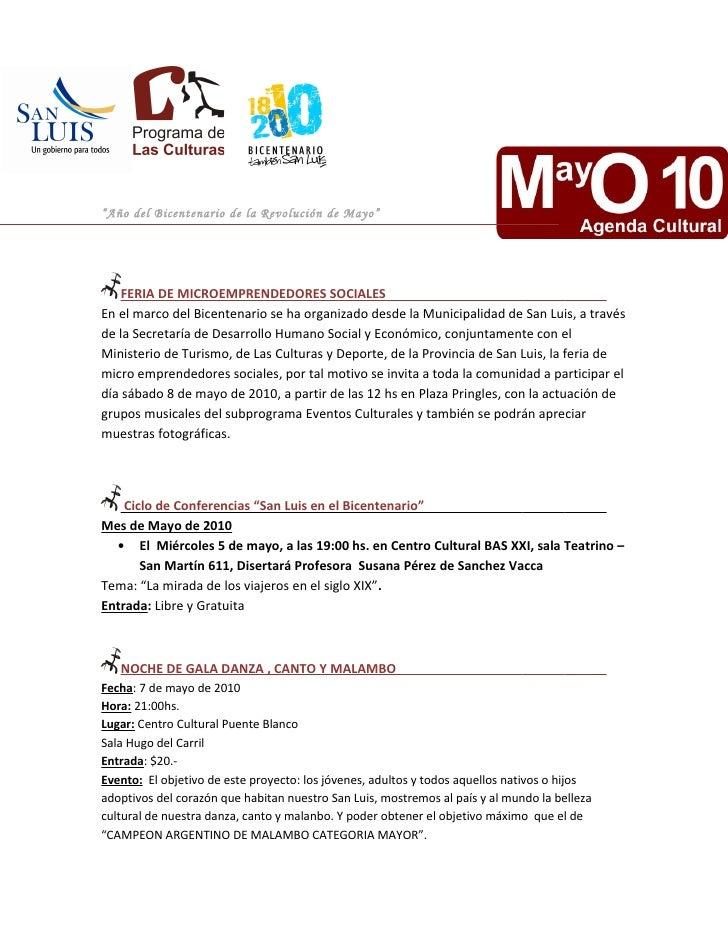 """""""Año del Bicentenario de la Revolución de Mayo""""         FERIA DE MICROEMPRENDEDORES SOCIALES En el marco del Bicentenario ..."""