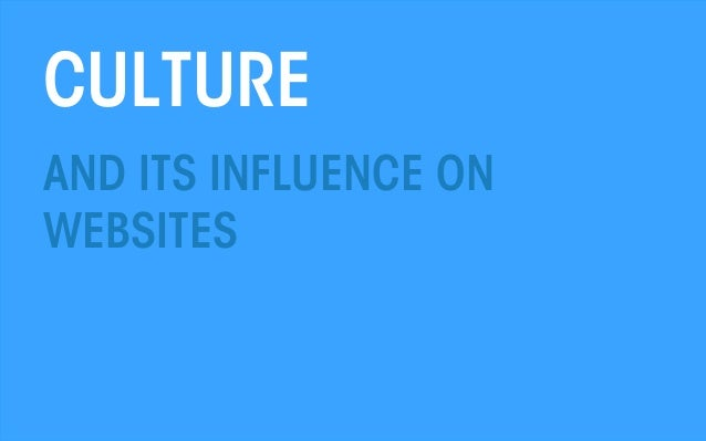 Culture and its influence on websites