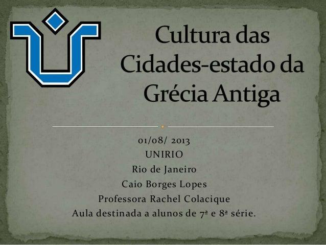 Cultura das cidades estado da  grécia antiga