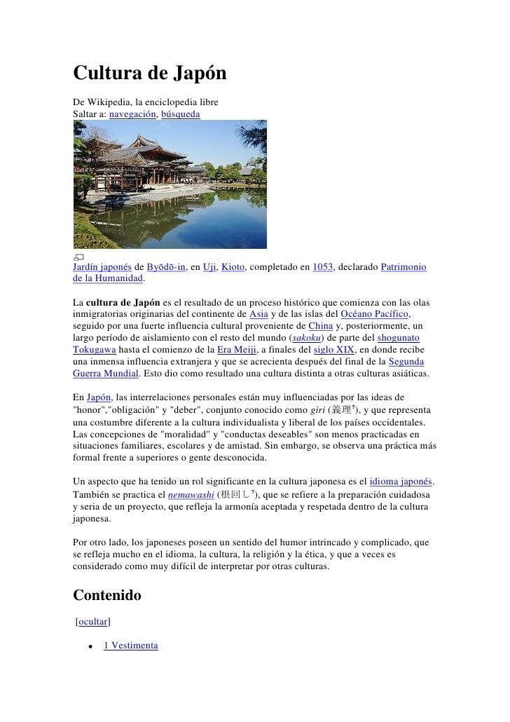 Cultura de JapónDe Wikipedia, la enciclopedia libreSaltar a: navegación, búsquedaJardín japonés de Byōdō-in, en Uji, Kioto...