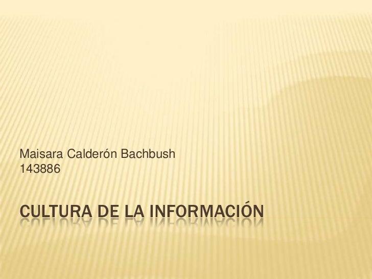 Maisara Calderón Bachbush143886CULTURA DE LA INFORMACIÓN