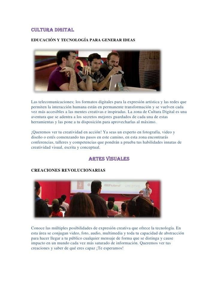 CULTURA DIGITAL<br />EDUCACIÓN Y TECNOLOGÍA PARA GENERAR IDEAS<br />Las telecomunicaciones; los formatos digitales para la...