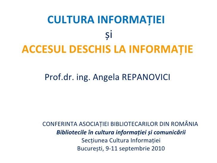 Cultura informației și Accesul Deschis la informație