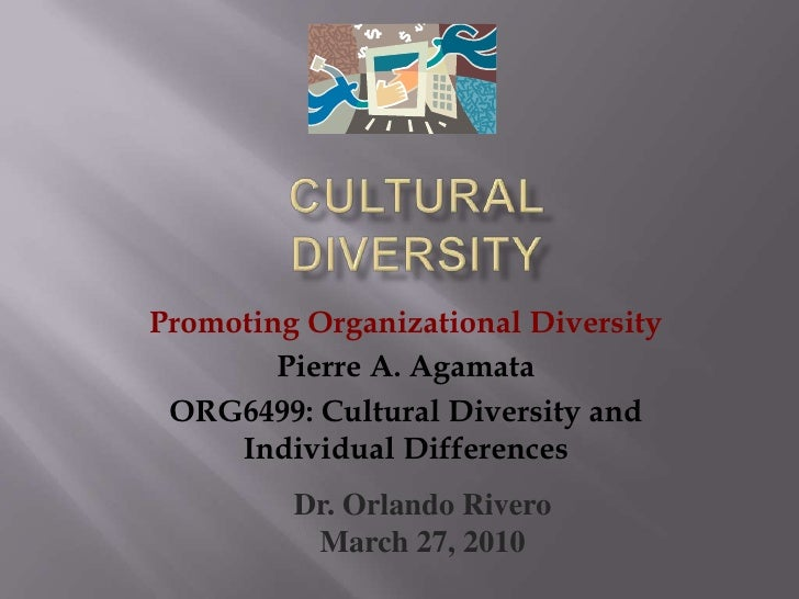 Cultural Diversity<br />Promoting Organizational Diversity<br />Pierre A. Agamata<br />ORG6499: Cultural Diversity and Ind...
