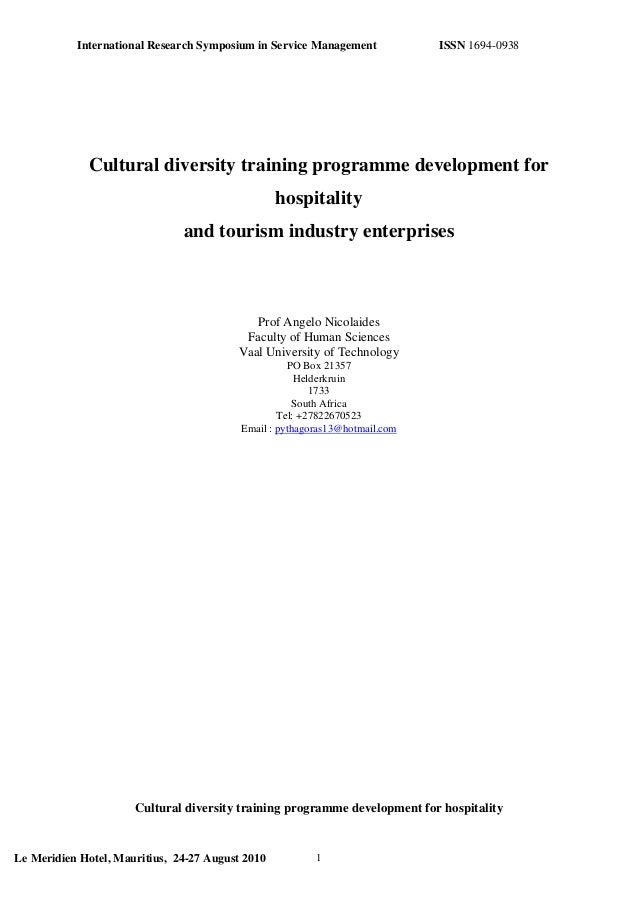 International Research Symposium in Service Management ISSN 1694-0938 Cultural diversity training programme development fo...