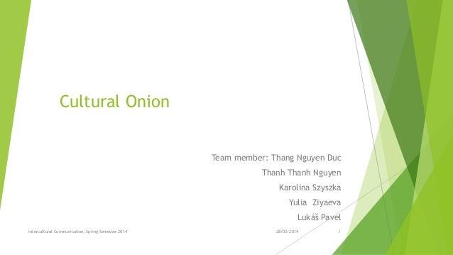 Cultural Onion Team member: Thang Nguyen Duc Thanh Thanh Nguyen Karolina Szyszka Yulia Ziyaeva Lukáš Pavel 28/03/2014Inter...