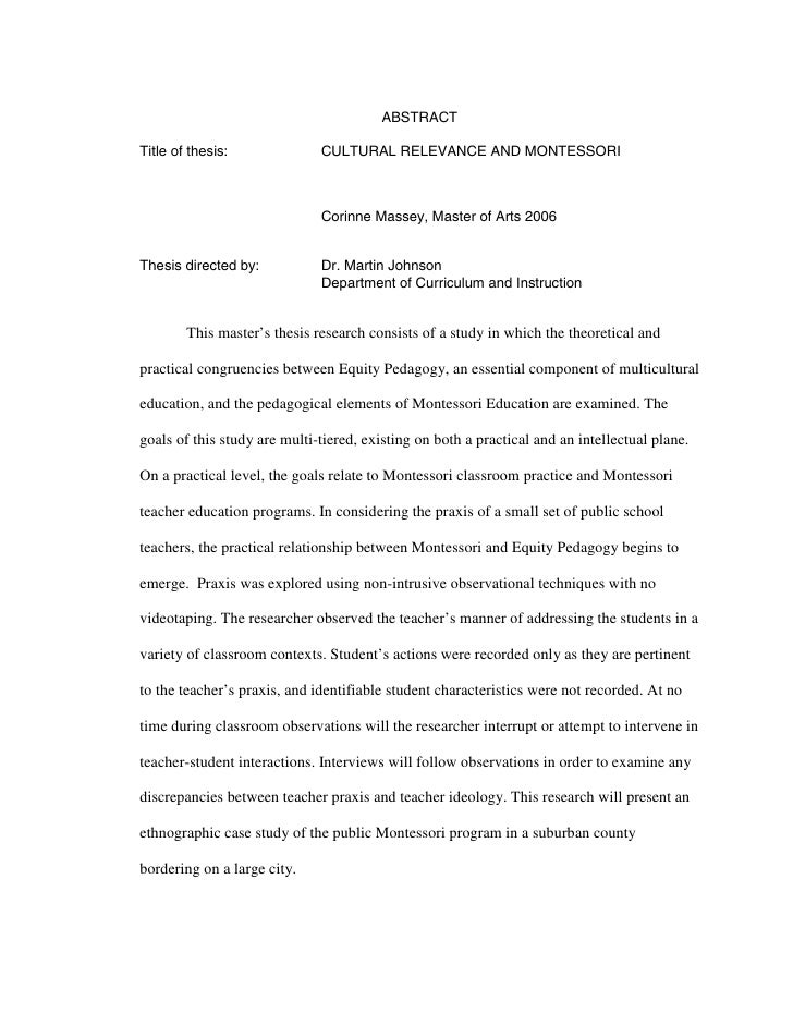 ABSTRACT  Title of thesis:              CULTURAL RELEVANCE AND MONTESSORI                                  Corinne Massey,...